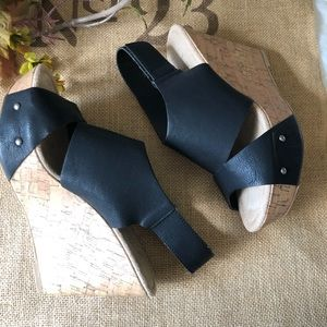 CL by Laundry black / cork wedges. Size 9. NWOT.